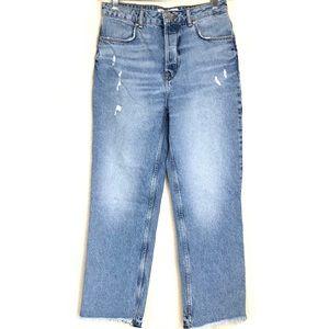 ZARA Button Fly High Waisted Crop Jeans